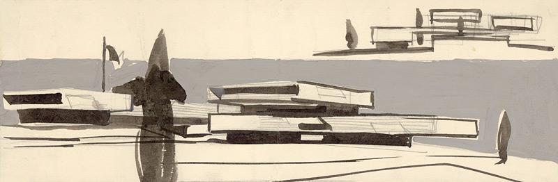 ›Karel Filsak a další. Skica ambasády SSR v Brazílii, 1962